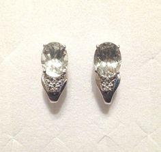 Green Amethyst Earrings J-Hoops in Sterling Silver 2.68 ctw. *NIB* #Hoop