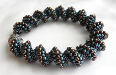 Bronze and Blue Japanese Seed Beads Cellini by delphistreasures, $168.00