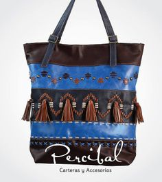 Leather bag Embroidered leather tote Large leather by Percibal, $250.00