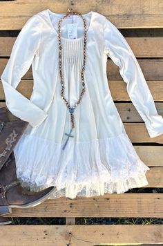 Feel So Close Lace Dress- Cream $64.99! #southernfriedchics #lace #musthave #fallfashion