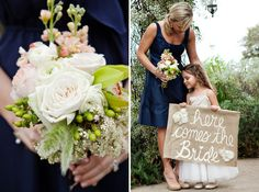 love this homemade here comes the bride sign for flower girls!