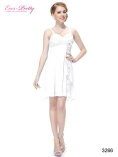 White Flower Unique Ruffles Empire Waist Short Wedding Dress