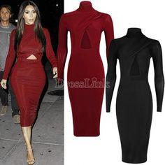 New Womens Ladies Celebrity Style Long Sleeve Cross Over Bodycon Midi Dress