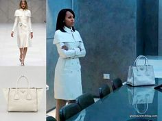 Scandal Fashion Recap: Olivia Pope's Burberry Spring 2013 White Coat, Lululemon Work Out Gear and Prada Twin Pocket Tote