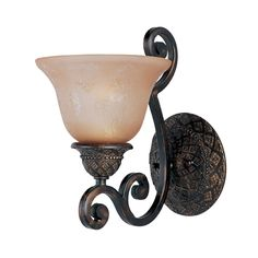 Sconce Wall Light with Amber Glass in Oil Rubbed Bronze Finish | 11246SAOI | Destination Lighting