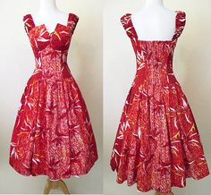 """Charming Hawaiian Sundress Summer party dress with """"tulip"""" bodice TIKI pinup rockabilly girl VLV size Small - Dress 03 Lovely Dresses, Flower Dresses, Rockabilly, Corsage, Hawaiian Sundress, Summer Sundresses, Full Circle Skirts, Dress With Bow, Pin Up Girls"""