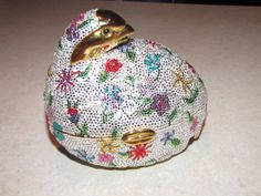 "Judith Leiber Grouse Colorful Swarovski Minaudiere  5""x4 5""x3 5"""