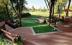 No excuses on your golf short game with this backyard set up… click image for more Decking ideas and materials