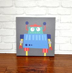 Robots Rule Stewart  Canvas Wall Art by VickyBaroneDesigns on Etsy, $69.00