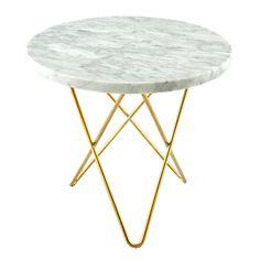Tall Mini O sivupöytä, valkoinen marmori/messinki ryhmässä Huonekalut / Pöydät / Sivupöydät & Apupöydät @ ROOM21.fi (130039)