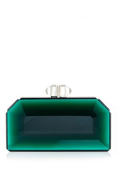 Green faceted rectangle speccio clutch by JUDITH LEIBER Preorder Now on Moda Operandi