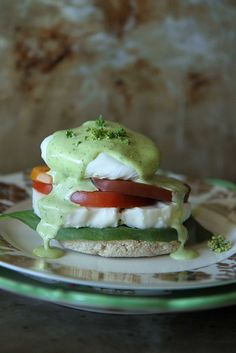 Caprese Benedict with Basil Hollandaise