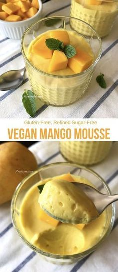 Vegan Mango Mousse - Simple Sumptuous Co. - Vegan Mango Mousse You are in the right place about Fast Rec - Vegan Treats, Vegan Foods, Vegan Dishes, Vegan Vegetarian, Vegetarian Recepies, Vegetarian Desserts, Vegan Chef, Eating Vegan, Vegan Dessert Recipes