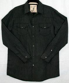 Thin Stripe Metal Snap Men's Long Sleeve Shirt - Charcoal   $43.00