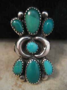 RARE size 7.75 vintage ZUNI FANNIE ONDELACY TURQUOISE CLUSTER STERLING RING