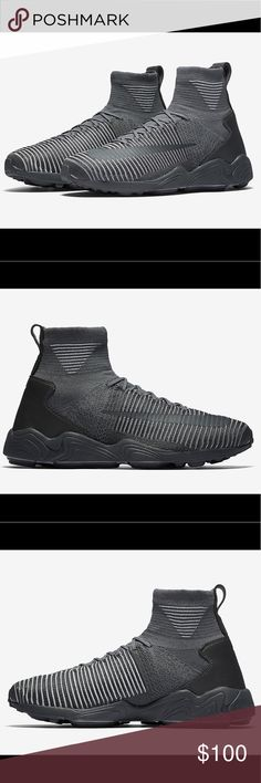 Nike Flyknit Mercurial XI Flyknit Dark Grey Brand new/Never worn. Brings box. Extremely high quality. Good ankle support and sole grip. Soft and durable material. Retail $200 Nike Shoes Sneakers
