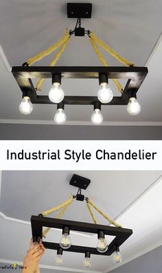 This chandelier has a rectangular wooden base with 6 lights and 4 iron chains covered by hemp rope and iron hooks to hang it up. It cost around $300 to purchase, so I decided to challenge myself and recreate it for less than $40.