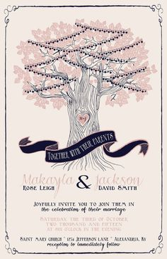 String Light Wedding Invitations Tree Wedding by InvitingMoments