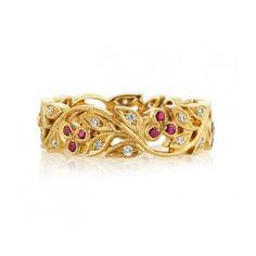 Wongs Jewellers - 18ct yellow vintage style wedding band, set with Rubies and diamonds.