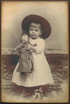 Little Girl Doll Vintage Photo