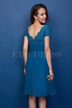 Attractive Lace A-Line Square Neckline Short-Sleeves Knee-Length Renatas Mother of the Bride Dress
