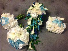 Beautiful white and blue wedding flowers #parsleyandsage #weddingseason