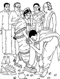 Tamil Cliparts: Printing Line art - 4 ( Wedding and invitations ) Wedding Drawing, Wedding Painting, Wedding Art, Tamil Wedding, Wedding Ideas, Art Drawings For Kids, Cute Drawings, Namaste Art, Wedding Symbols