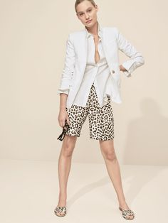J.Crew Looks We Love: women's Thomas Mason® for J.Crew boy shirt, Regent blazer in linen, linen bermuda short in leopard print and leopard slide sandals.