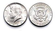 US currency coins, penny, nickel, dime, quarter, dollar, half dollar