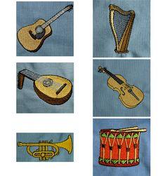 Musikinstrument Stickdateien auf www.gabrielles-embroidery.com