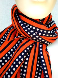 Polka Dots and Stripes Vintage Scarf by BettysVintageShop on Etsy