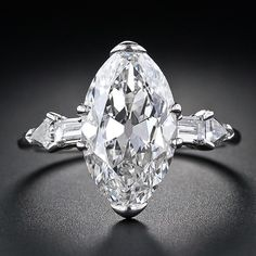 4.14 Carat G-VVS2 Marquise/Oval Art Deco Diamond Ring - 10-1-4929 - Lang Antiques