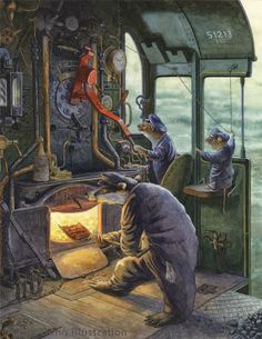 Chris Dunn Illustration/Fine Art: Gallery-----On The Footplate Chris Dunn, Children's Book Illustration, Book Illustrations, Fantastic Art, Fantasy Artwork, Whimsical Art, Cute Art, Book Art, Fairy Tales