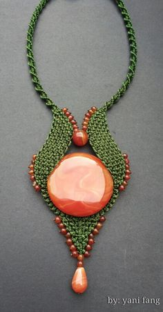 Green macrame necklace with carnelian..