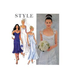 90s Simplicity 9299 Fitted, Bias Formal, Bridesmaid, Bridal, Wedding Dress in Two Lengths, Uncut, Factory Folded, Sewing Pattern Size 8-18 Wedding Dress Patterns, Wedding Dresses, Bias Cut Dress, Simplicity Patterns, Brides And Bridesmaids, Flare Skirt, All Things, Bodice, Sewing Patterns