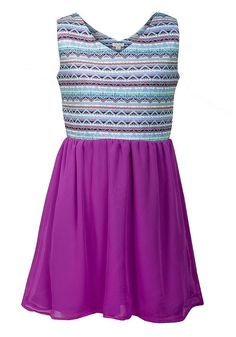 Girls Purple Multi Contrast Aztec Pattern Sleeveless Party Summer Dress. 4-14yrs