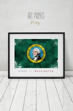 Washington state flag art print Wall art flag by ArtPrintsVicky