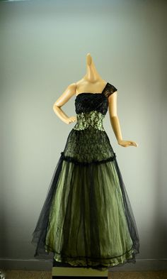1950s tulle party dress 50s formal gown black lace Vintage evening gown floor length