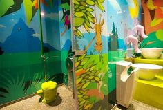 The main purpose in designing the children's toilet in Tel Aviv was to create a special and different atmosphere. The space was designed as a colorful and wild jungle, where design controls every detail. The space clearly belongs to children, but. Kid Bathroom Decor, Childrens Bathroom, Baby Bathroom, Bathroom Designs, Toilet Pictures, Kids Toilet, Toilet Design, Chores For Kids, Interior Design Studio
