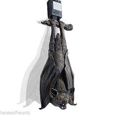Bat Halloween Swinging Decor Prop Glowing Eyes Hanging Sound Vampire Fangs Wings