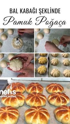 Bal Kabak Şeklinde Pamuk Poğaça Tarifi - Nefis Yemek Tarifleri Fun Baking Recipes, Bakery Recipes, Donut Recipes, Dessert Recipes, Cooking Recipes, Yummy Recipes, Dinner Rolls Easy, Macedonian Food, Bread Shaping