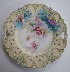 R.S.Prussia Floral Cake Plate