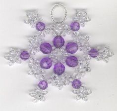 Purple & Crystal Beaded Snowflake Christmas Tree by FoxyMomma, $5.00