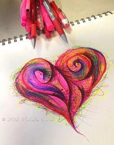 Love is in my heART  Original ART 9x12 with by michellecuriel, $69.99