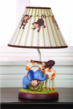 KIDS LINE JUNGLE 123 LAMP BASE AND SHADE, BROWN - Click image twice for more info - See a larger selection of kids table lamps at http://tablelampgallery.com/product-category/kids-table-lamps/ - home, home decor, home ideas, desk lamp , gift ideas, lightning, lamp, kids lamp