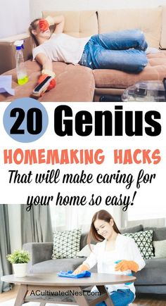 20 Genius Homemaking Hacks - If you're a busy homemaker, you need these 20 genius homemaking hacks and tips! These frugal ways to deal with common household chores will help you save a lot of time, and money! Diy Home Cleaning, Diy Cleaning Products, Spring Cleaning, Cleaning Hacks, Cleaning Solutions, Under Cabinet Storage, Commercial Cleaners, Clean Your Washing Machine, Retro Housewife