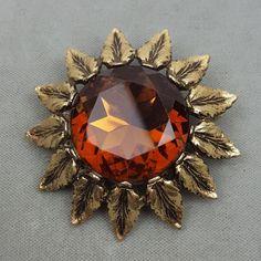 Vintage Emmons jewelry sunflower brooch shawl pin topaz amber glass jewel  #Emmons
