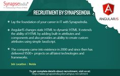 SynapseIndia Recruitment team is hiring freshers in AngularJS Development.   Get to know more at: http://synapseindia-recruitment.blogspot.in/2017/06/synapseindia-recruitment-job-openings.html
