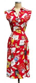Called a Day Dress, this print features alcoholic bottle labels--perfect for that chic alcoholic housewife look.