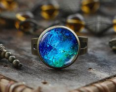 Wire Wrapped Ring  Galaxy Ring  Space Ring  by PriscillasJewelry